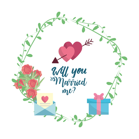 wedding reception decoration: Just married hearts with arrow with romantic message vector illustration.