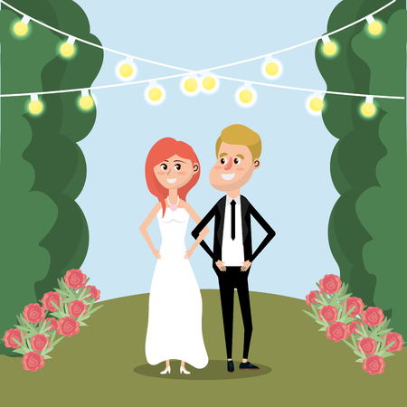 Couple married with flowers and lights vector illustration.