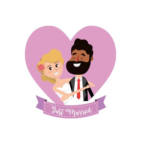 wedding reception decoration: Married couple inside of heart and ribbon design vector illustration. Illustration