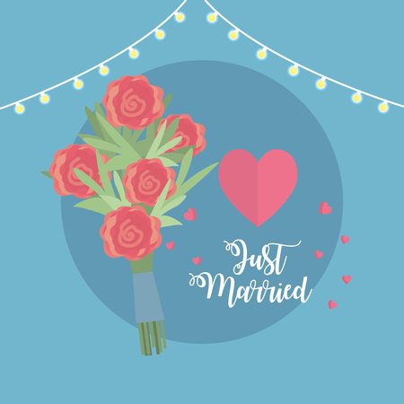 Just married celebration with bouquet and hearts vector illustration. Illustration
