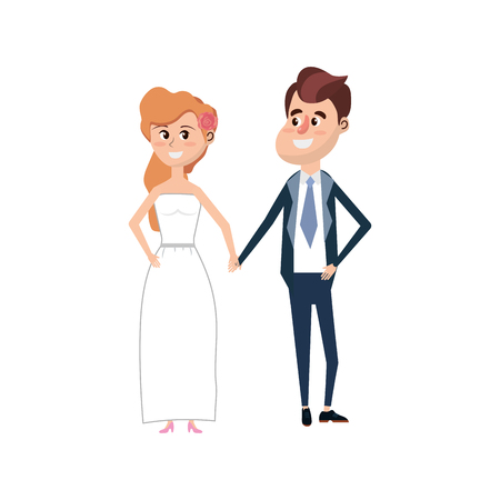 wedded: happy couple together and romantic celebration vector illustration