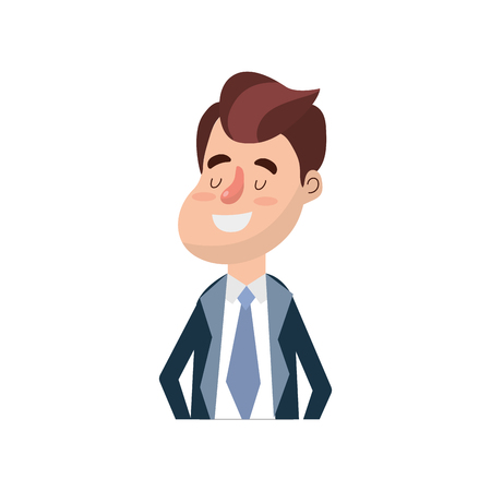 handsome men: Happy groom with hairstyle and elegant suit vector illustration.
