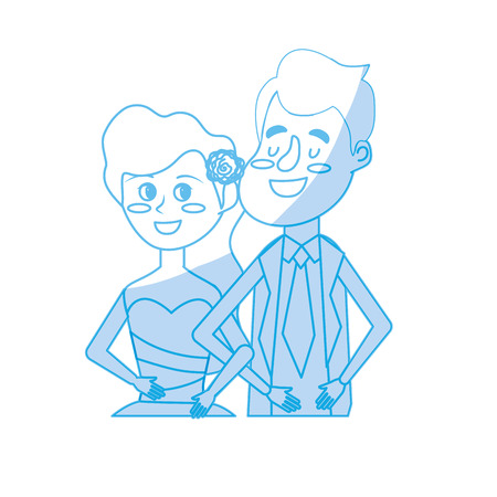 wedded: silhouette happy couple together and romantic celebration vector illustration Illustration