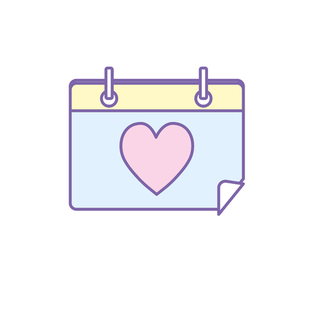 calendar with heart to romantic special day vector illustration