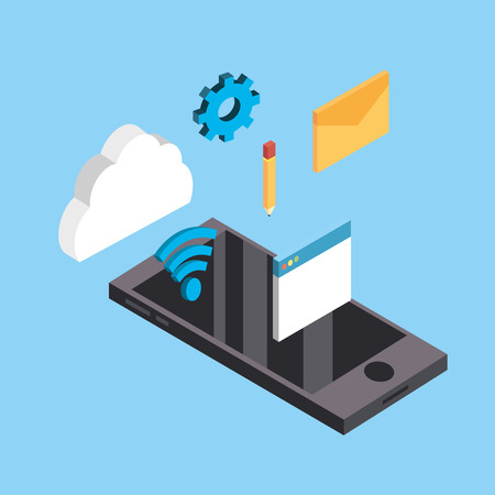 smartphone technology with data service connect Illustration