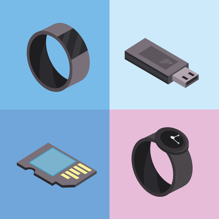 set smartwatch and usb technologies services Illustration