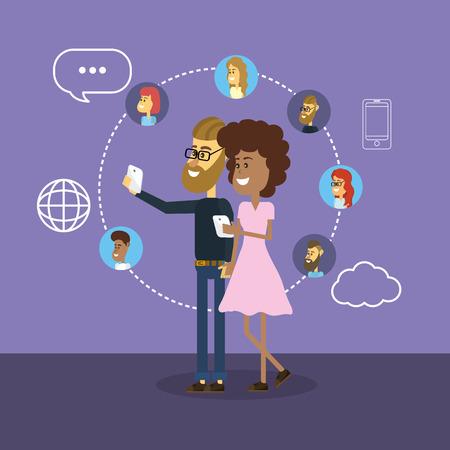 Comunicación social a la gente conexión a los medios de comunicación
