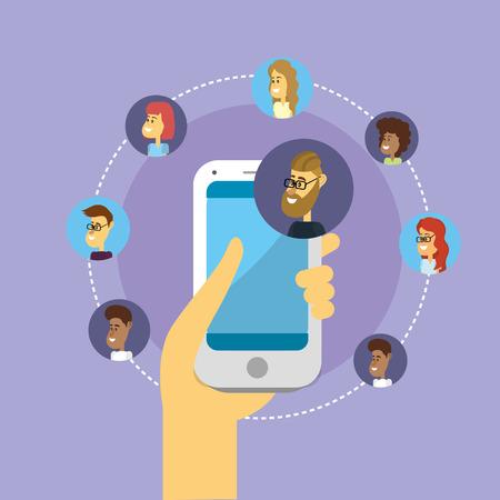 Comunicación social a la gente conexión a los medios de comunicación Ilustración de vector