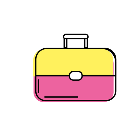 suitcase packing: business suitcase to save important document Illustration