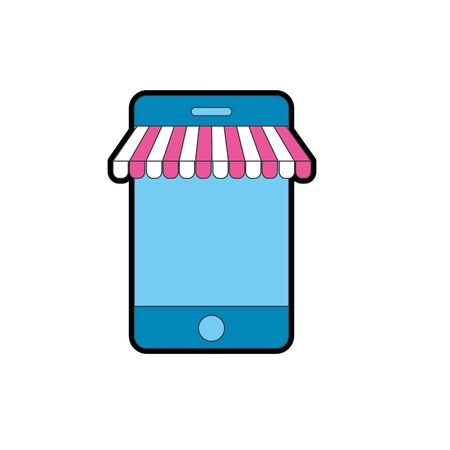 using smart phone: technology smartphone to business information Illustration