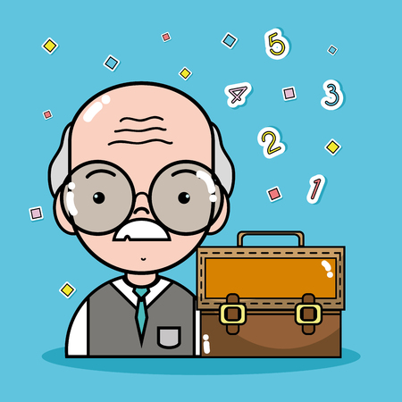 schoolkids: old teacher with glasses and briefcase vecctor illustration
