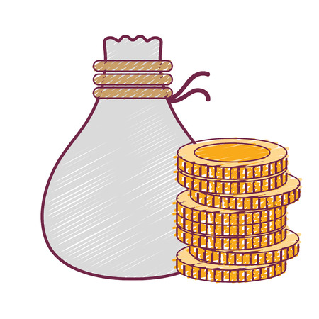 coins cash money with bag vector illustration Illustration