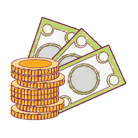 expenses: bills and coins cash moey currency vector illustration