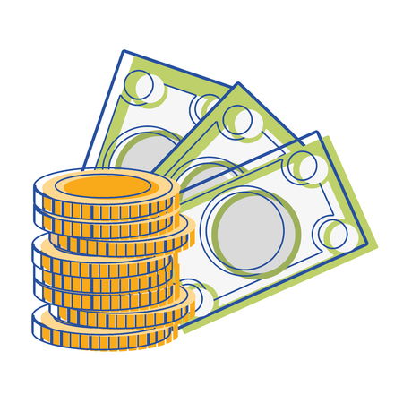 savings account: bills and coins cash moey currency vector illustration