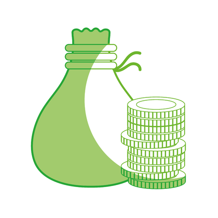 line coins cash money with bag vector illustration