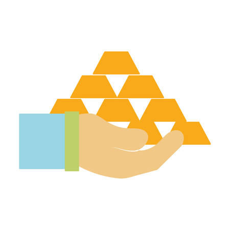 savings account: financial gold elements in the hand vector illustraton design Illustration