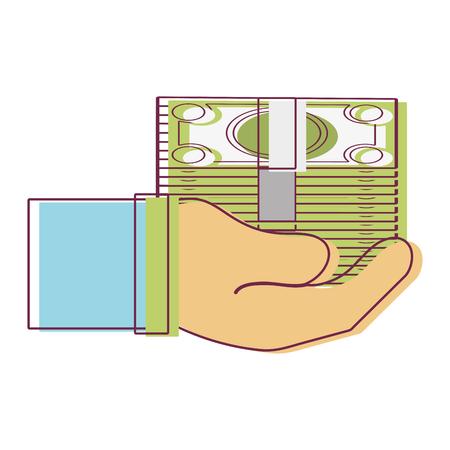 savings account: bill cash money in the hand vector illustration design Illustration