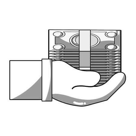 savings account: line bill cash money in the hand vector illustration design