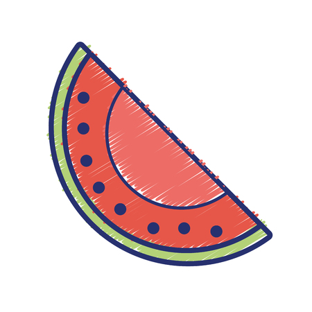delicious slice watermelon fruit with vitamins and protein vector illustration Illustration