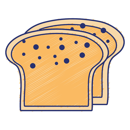 loaf: yummy slices breads to eat food vector illustration