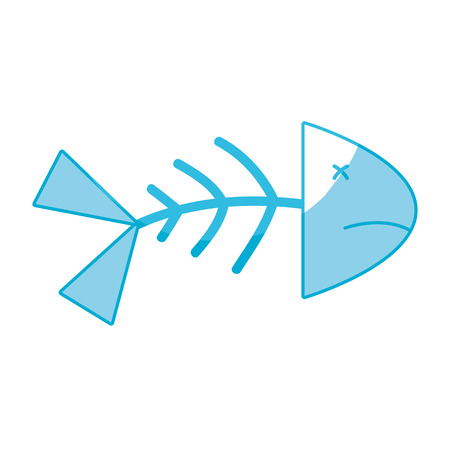 silhouette fish death with its spine and tail vector illustration Illustration