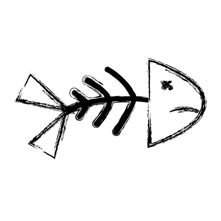 figure fish death with its spine and tail vector illustration Illustration