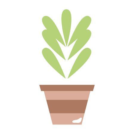 treatment plant: plant with leaves inside flowerpot design vector illustration