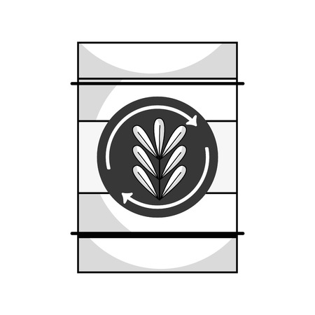 line tank with plant symbol to environment care Ilustracja
