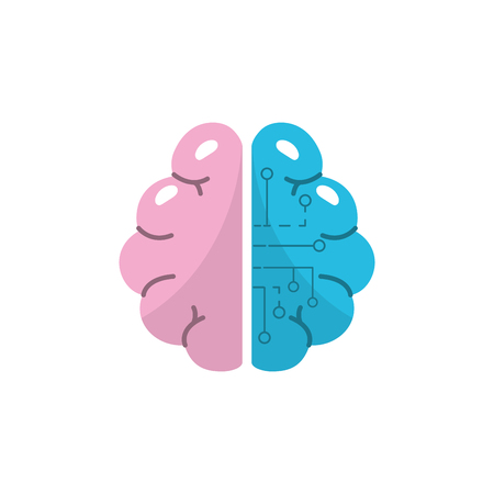 mentality: anatomy brain with circuits digital connection vector illustration Illustration