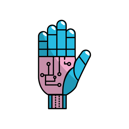 modern innovative: hand with circuits and cyberspace interface connection vector illustration