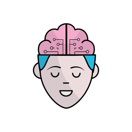 boy face with brain out side in the head vector illustration