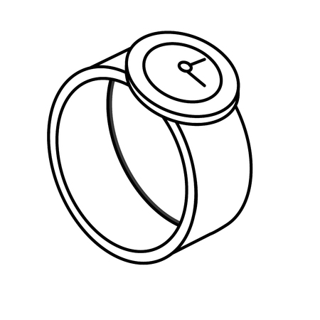 touch screen interface: line technology smartwatch with digital connection service vector illustration