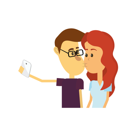 A couple kissing and taking selfie with smartphone vector illustration. Illustration