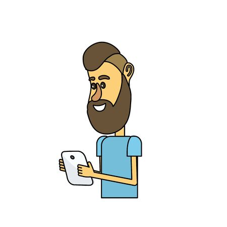 nice man with hairstyle and smartphone in the hand