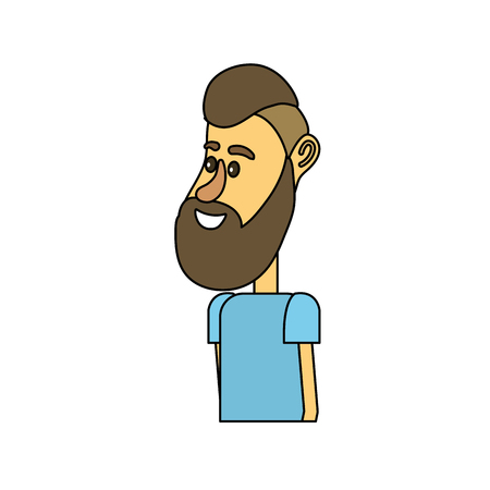 cute man with hairstyle design and clothes Illustration