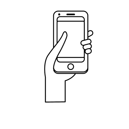 using smart phone: line smartphone digital technology to communication in the hand