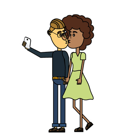 couple kissing and taking selfie with smartphone