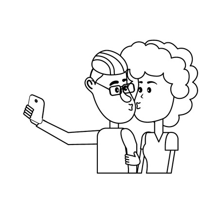Line couple kissing and taking selfie with smartphone. Illustration