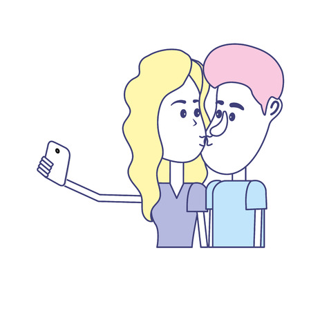 Couple kissing and taking selfie with smartphone. Illustration