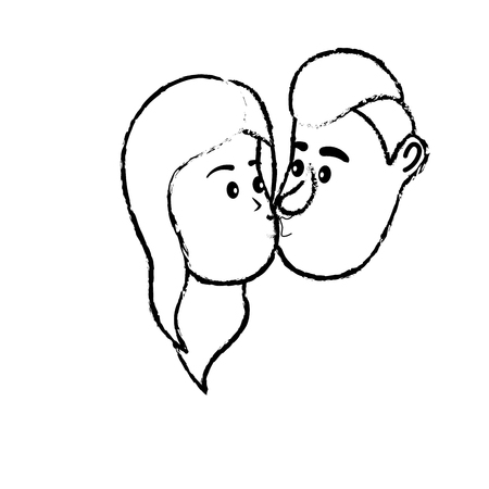 figure avatar couple face kissing with hairstyle design