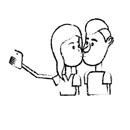 figure couple kissing and taking selfie with smartphone vector illustration Illustration