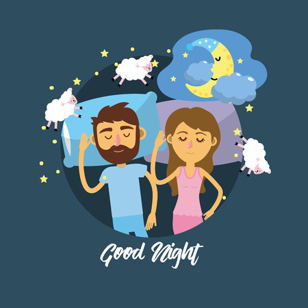 couple sleeping together with good dreams Illustration