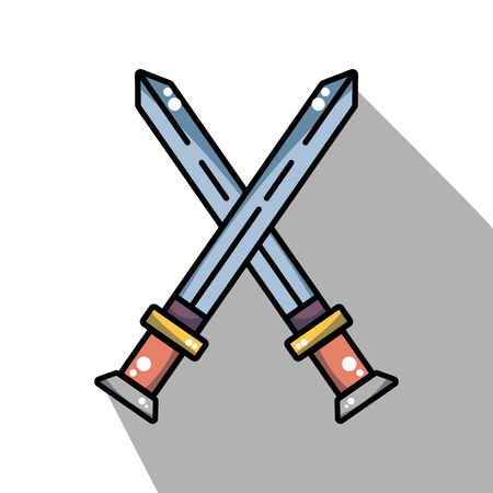 swords medieval element army in cross