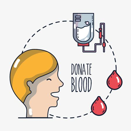 A blood donation transfusion with special equipment illustration. Illustration