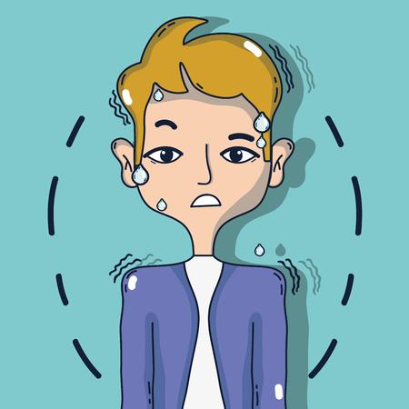 man met otitis ontsteking probleem tratment Stock Illustratie