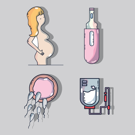 set woman pregnancy with ovum and spermatozoons with blood donation and medicine Illustration