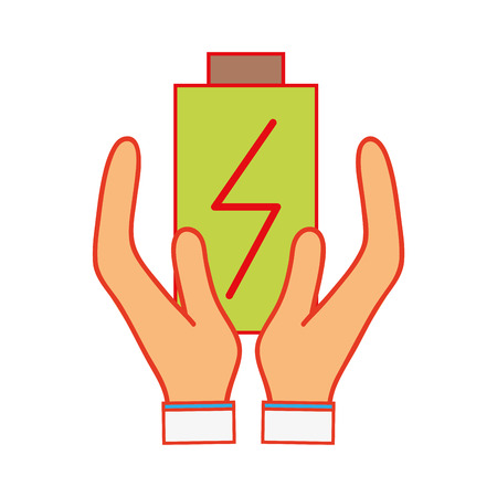 power electric battery charger in the hands Illustration