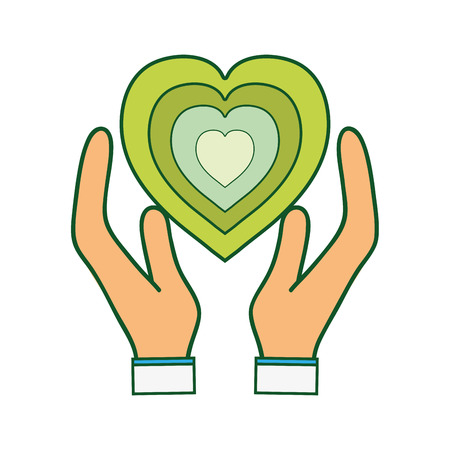 passion  ecology: green heart to love ecology symbol in the hands