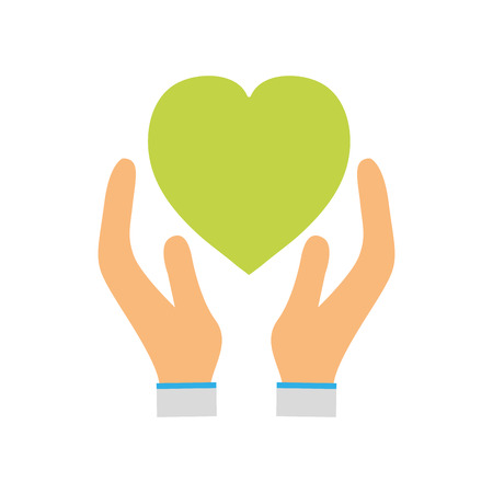 green heart to love ecology symbol in the hands
