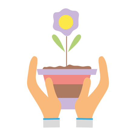 flower with petals and leaves inside plantpot in the hands